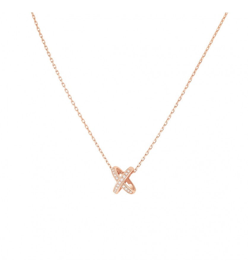 CHAUMET Pendentif Premiers Liens or rose diamants sur chaine