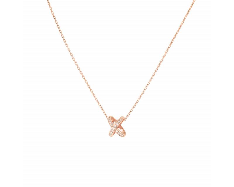 Pendentif premiers liens or rose diamants sur chaine