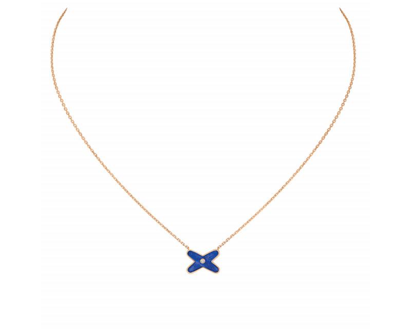 Pendentif Jeux de Liens or rose diamant lapis lazuli