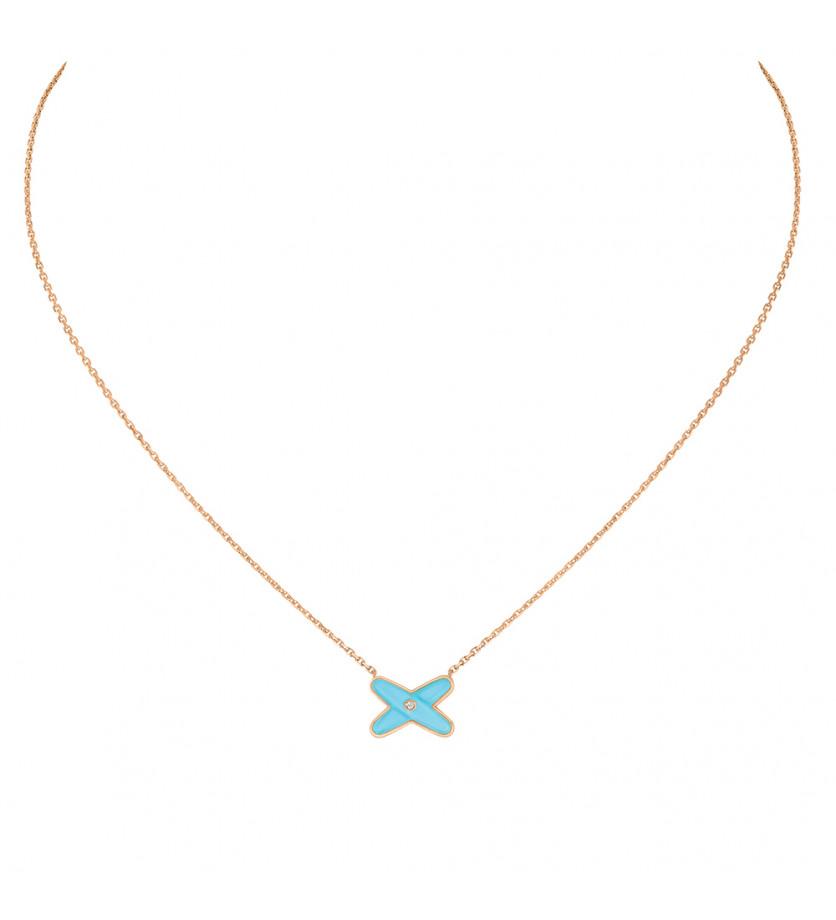 Pendentif Jeux de Liens or rose diamant et turquoise