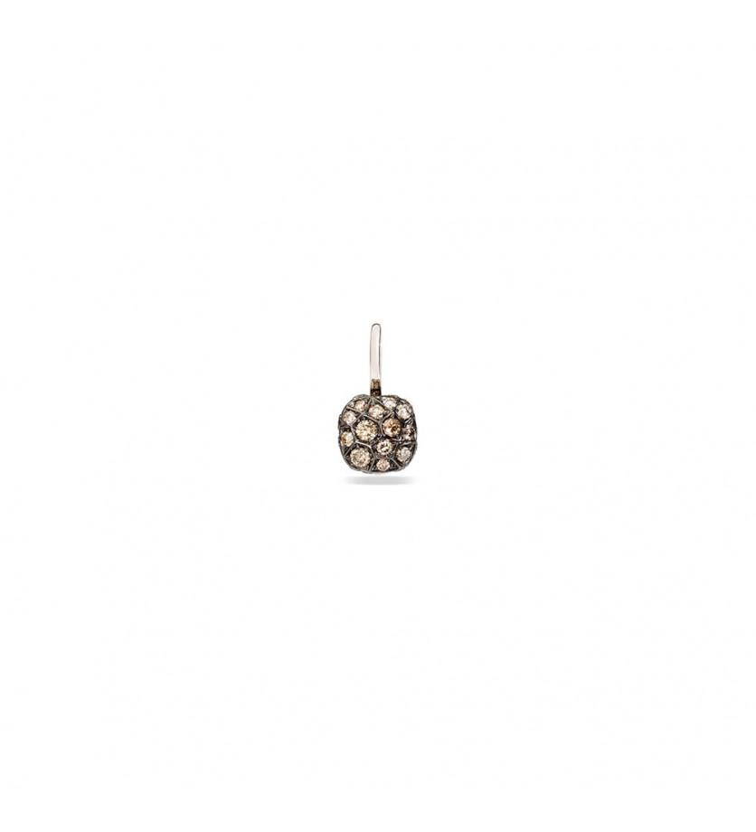 Boucle d'oreille à l'unité Nudo or blanc/or rose diamants bruns