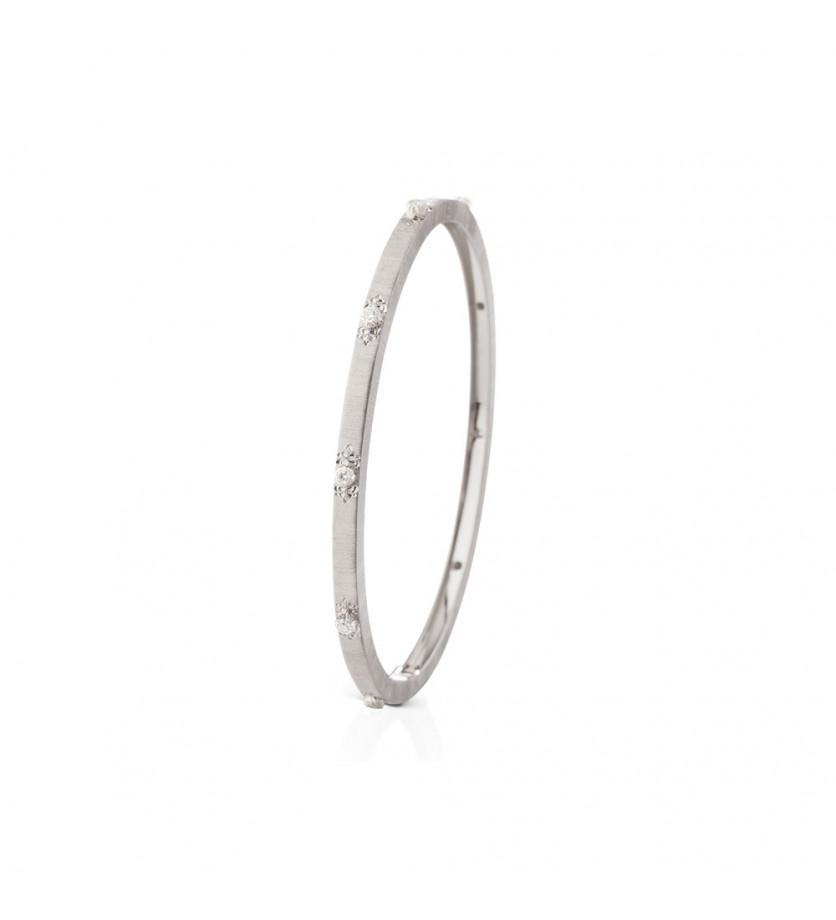BUCCELLATI Bracelet Macri or gris diamants 3mm
