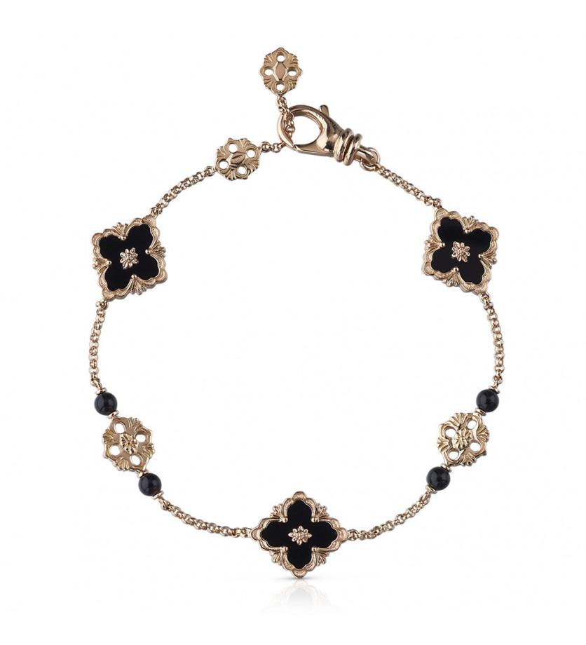 BUCCELLATI Bracelet Flex Opera or rose onyx 3 motifs
