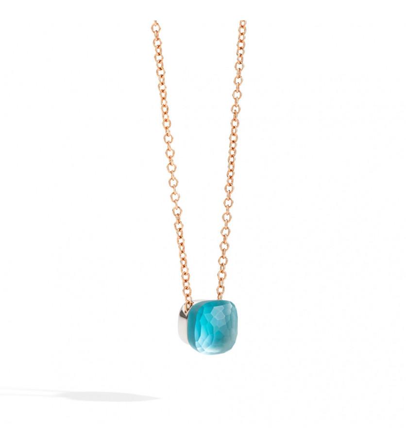 POMELLATO Pendentif Nudo Gelé or rose et blanc topaze bleu clair gelé, nacre et turquoise chaîne lon