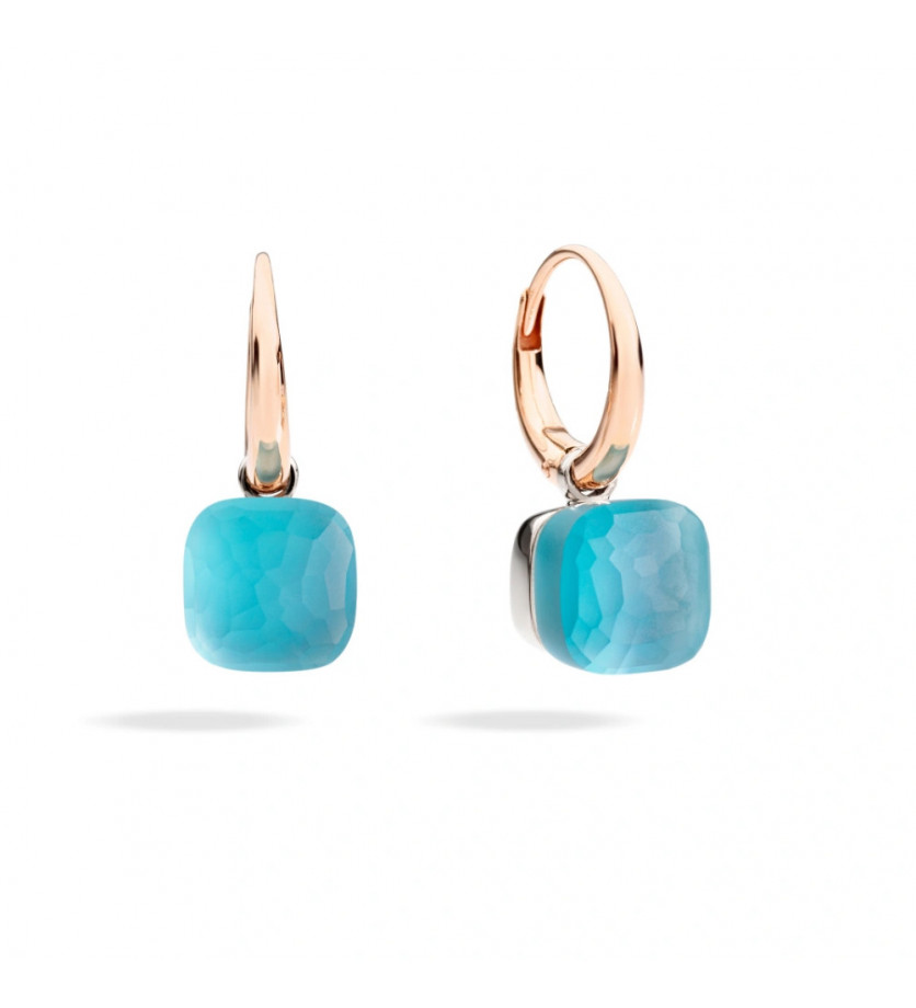 Boucles d'oreille Nudo Gelè or rose or blanc topaze bleu gelé nacre et turquoise