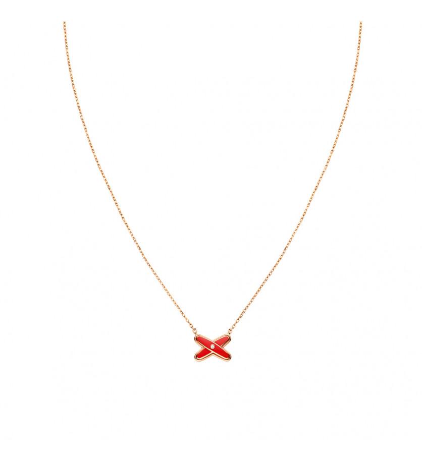 Pendentif Jeux de Liens or rose diamant et laque rouge Garance