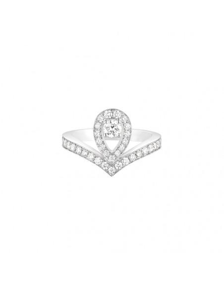 Bague Diademe Joséphine Aigrette or blanc pavée diamants