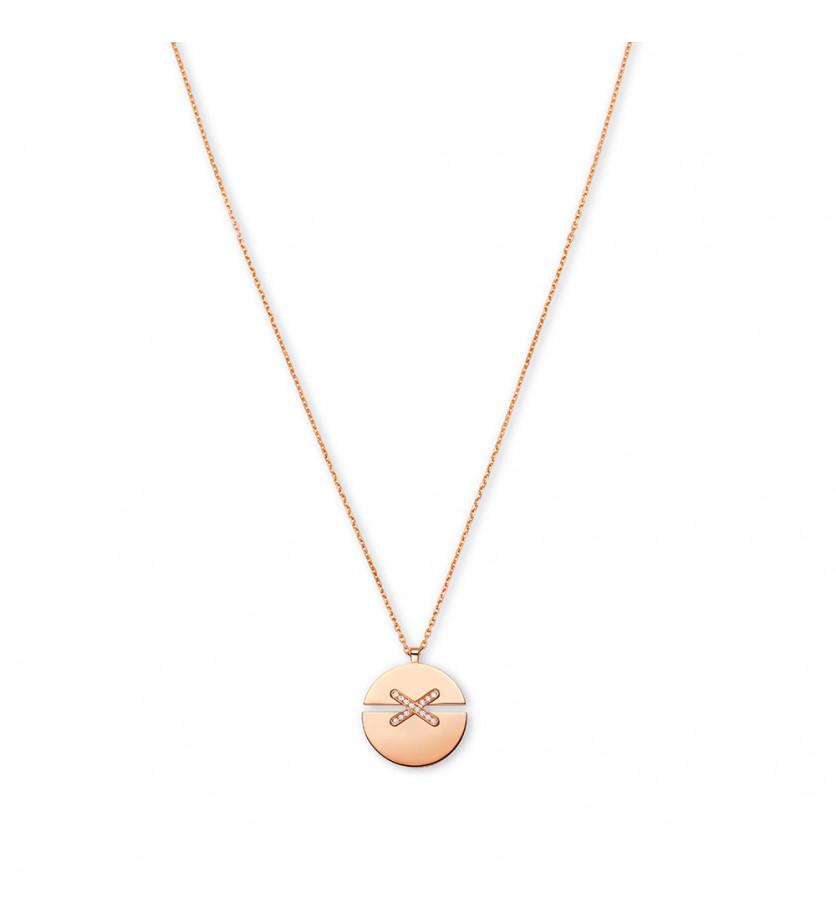 CHAUMET Pendentif Jeux de Liens Harmony petit modèle (13 mm) or rose liens pavés diamants sur chaîne