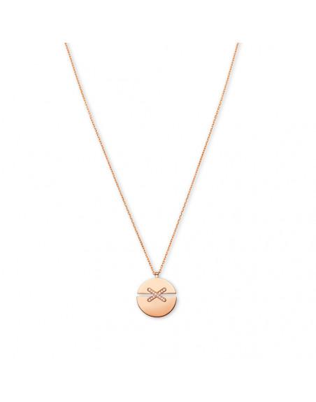 Pendentif Jeux de Liens Harmony petit modèle (13 mm) or rose liens pavés diamants sur chaîne en or r