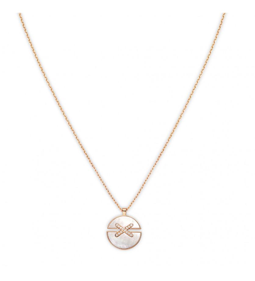 Pendentif Jeux de Liens Harmony moyen modèle (18mm) or rose, nacre blanche et liens pavés diamants s