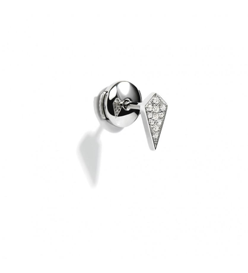 Puce d'oreille à l'unité Stairway argent diamants