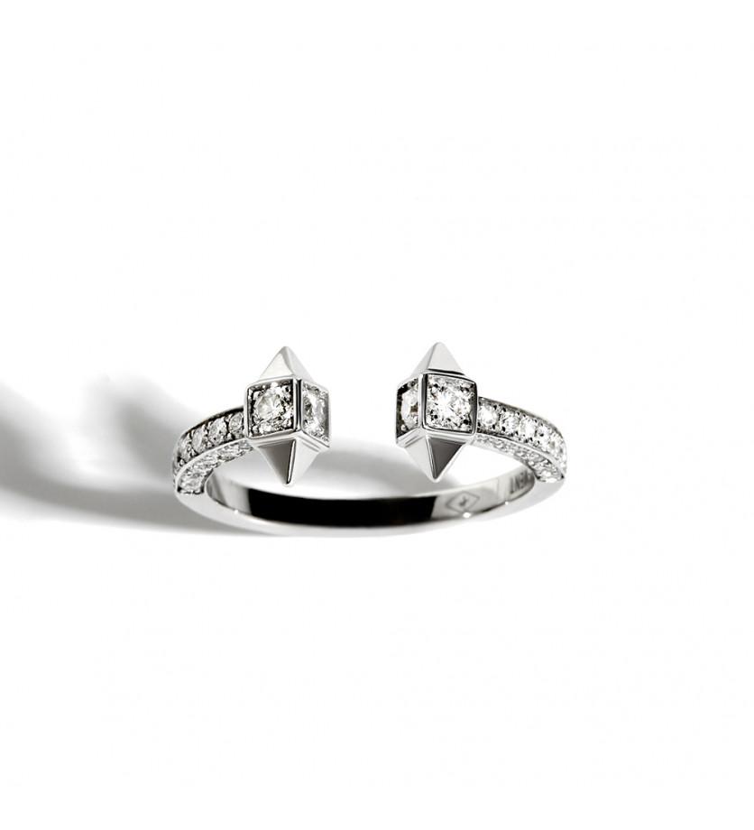 Bague ouverte Rock Away argent sterling rhodié diamants