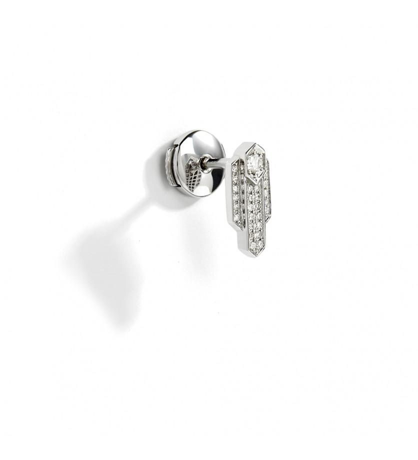 Puce d'oreille à l'unité Anyway argent sterling rhodié diamants