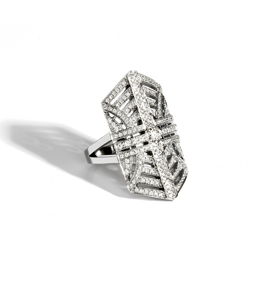 STATEMENT Bague d'index Stairway argent sterling rhodié diamants