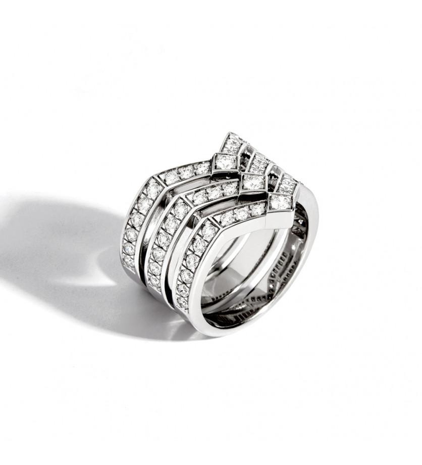 Bague Stairway argent sterling rhodié diamants