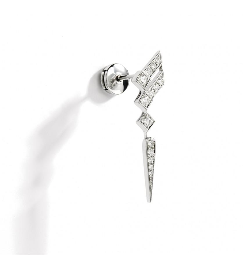 Puce d'oreille à l'unité Stairway argent sterling diamants
