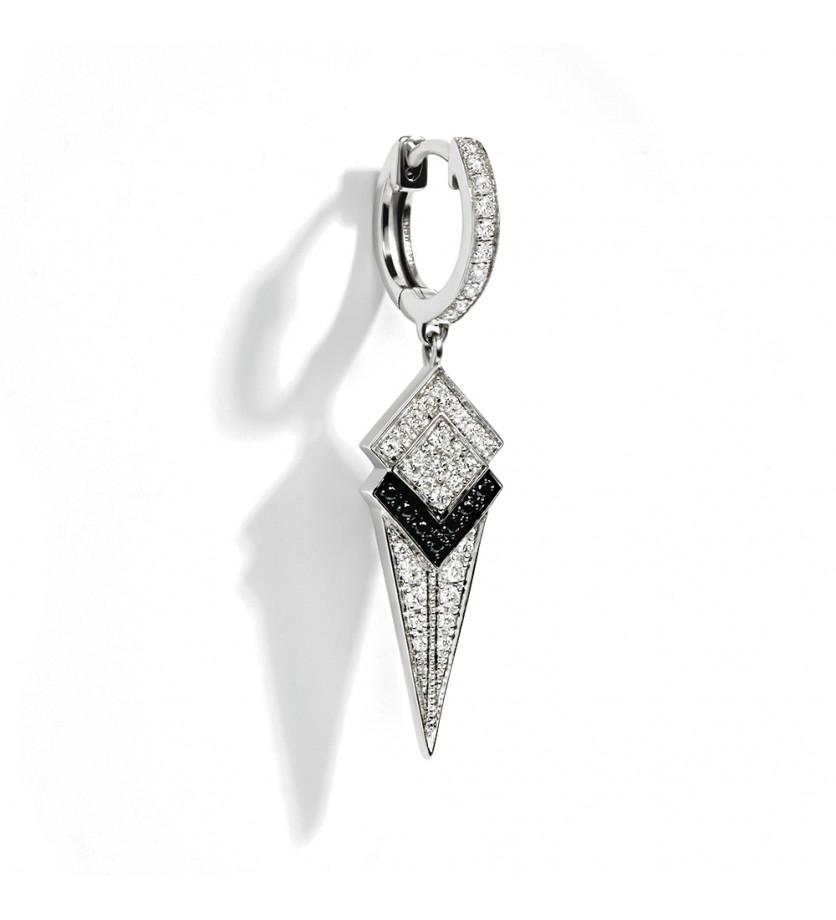 Puce d'oreille à l'unité Stairway argent sterling rhodié diamants blancs et noirs