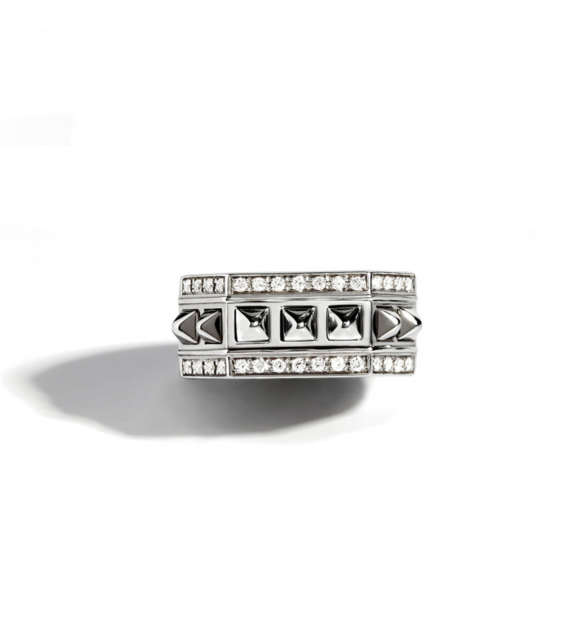 STATEMENT Bague octogone Rock Away argent sterling 925 rhodié 3 rangs de diamants