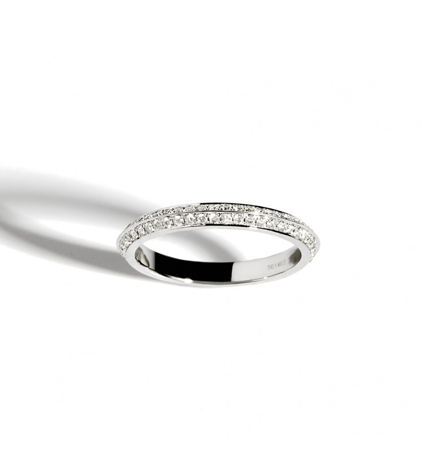 Bague Anyway section triangulaire argent sterling diamants