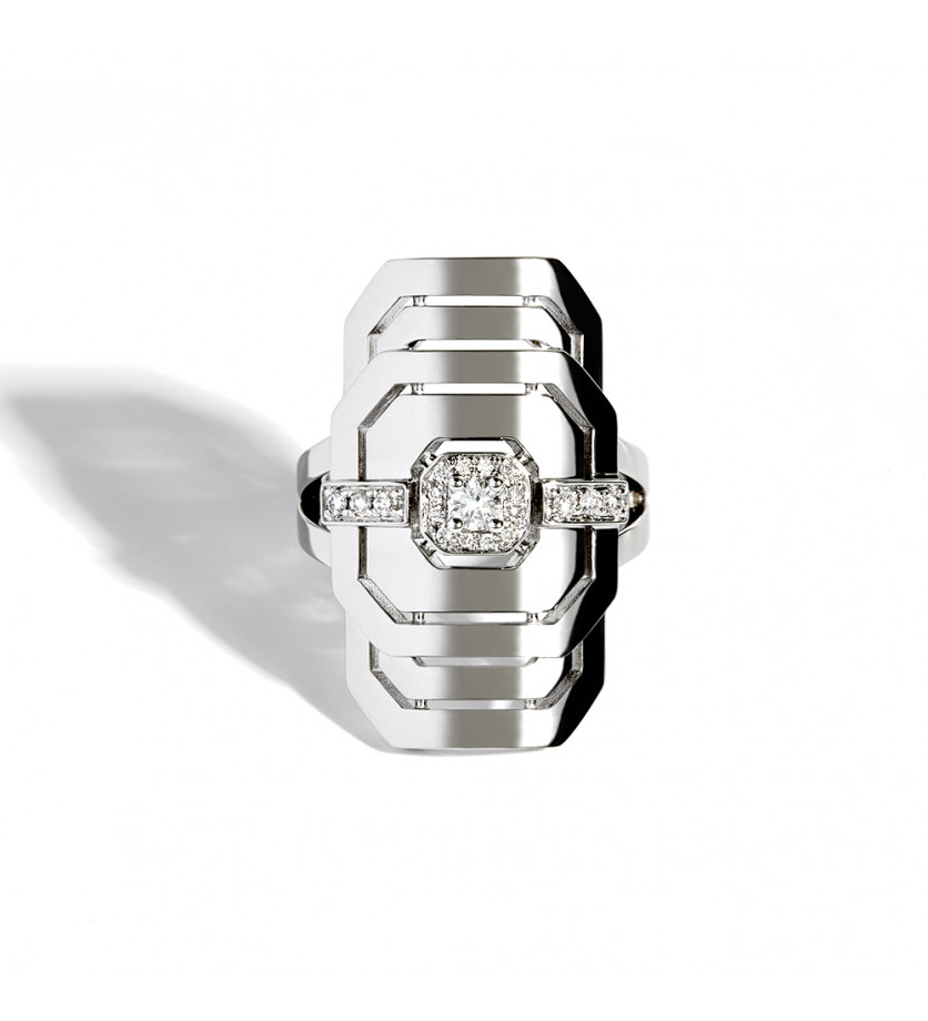 STATEMENT Bague d'index My Way argent sterling 925 rhodié une ligne de diamants