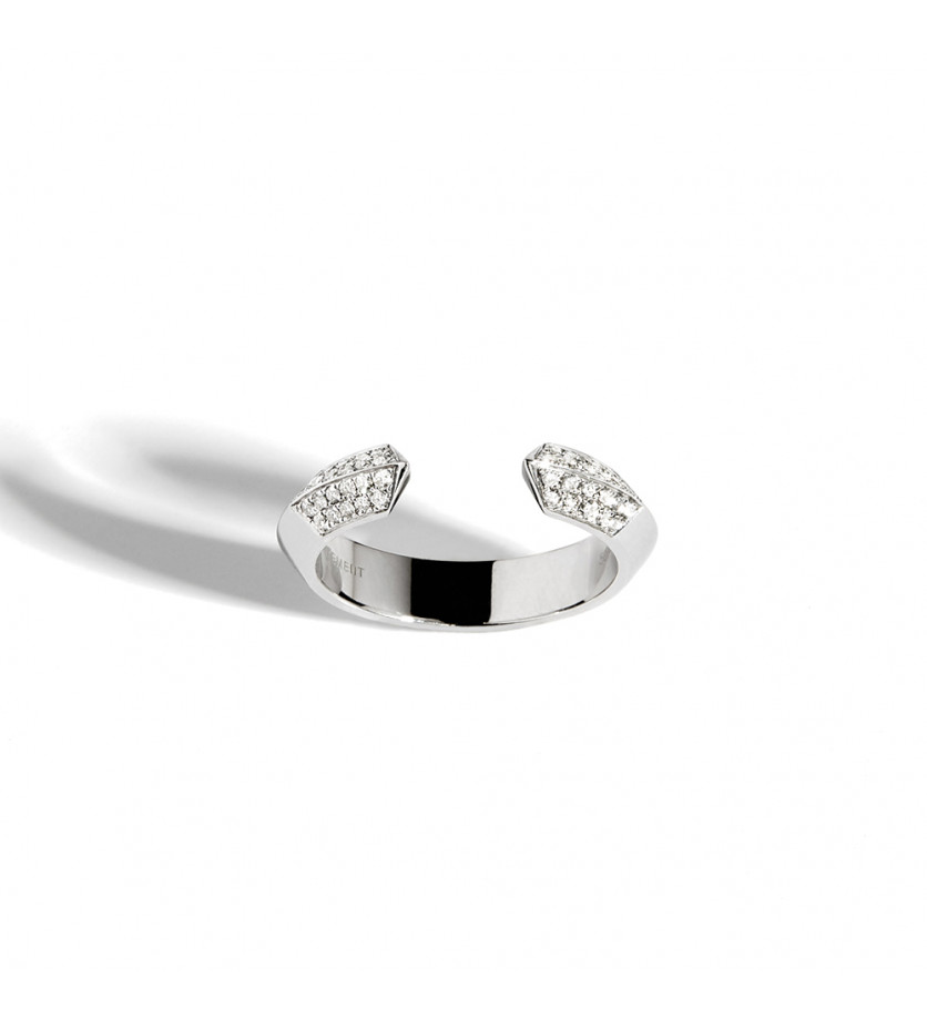 STATEMENT Bague ouverte Anyway section triangulaire externe et section ronde interne argent sterling