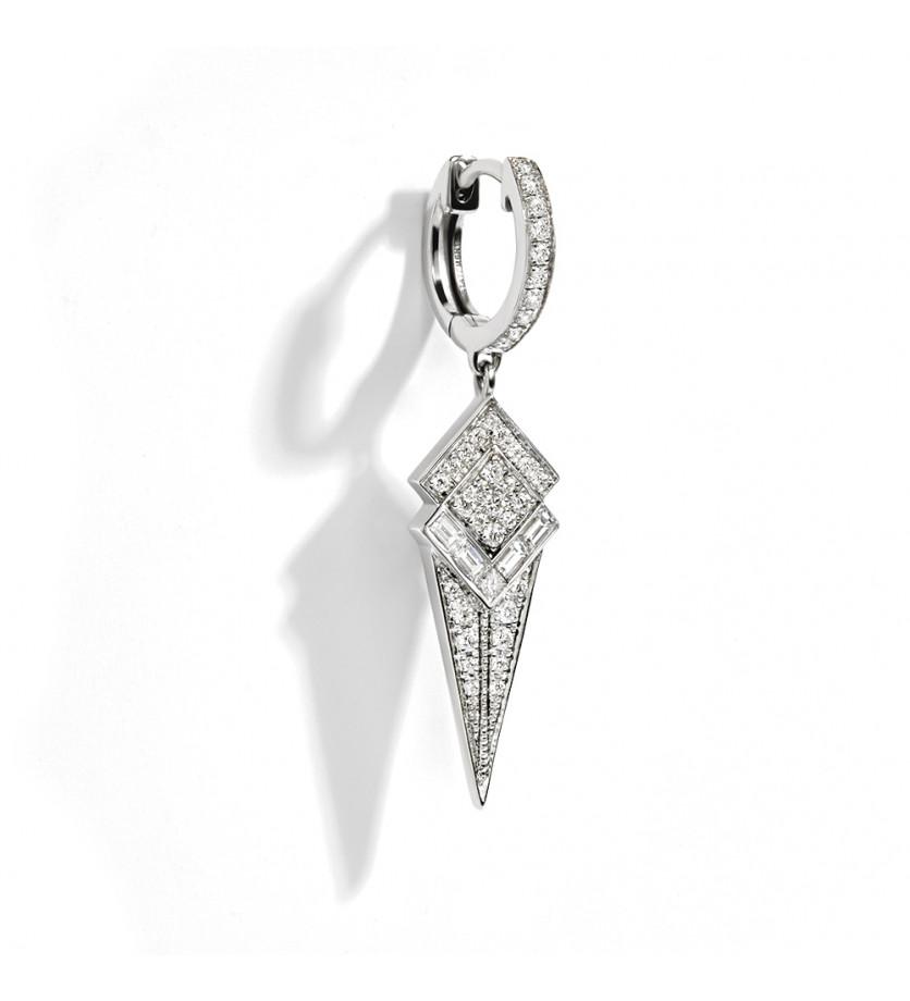 Puce d'oreille à l'unité Stairway argent sterling rhodié diamants brillant et baguette