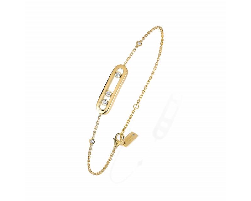 MESSIKA Bracelet Baby Move or jaune 3 diamants sur chaîne en or jaune avec mini diamants sertis clos