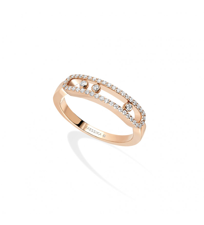 Bague Baby Move or rose pavée diamants