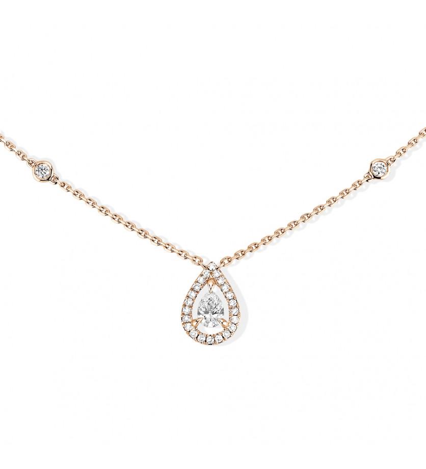 MESSIKA Pendentif Joy diamant poire 0.25ct env. entourage diamants taille brillant chaîne en or rose