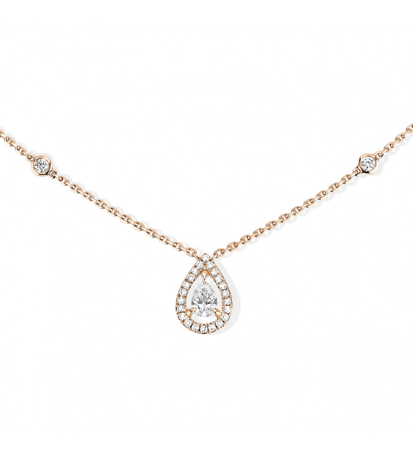 Pendentif Joy diamant poire 0.25ct env. entourage diamants taille brillant chaîne en or rose