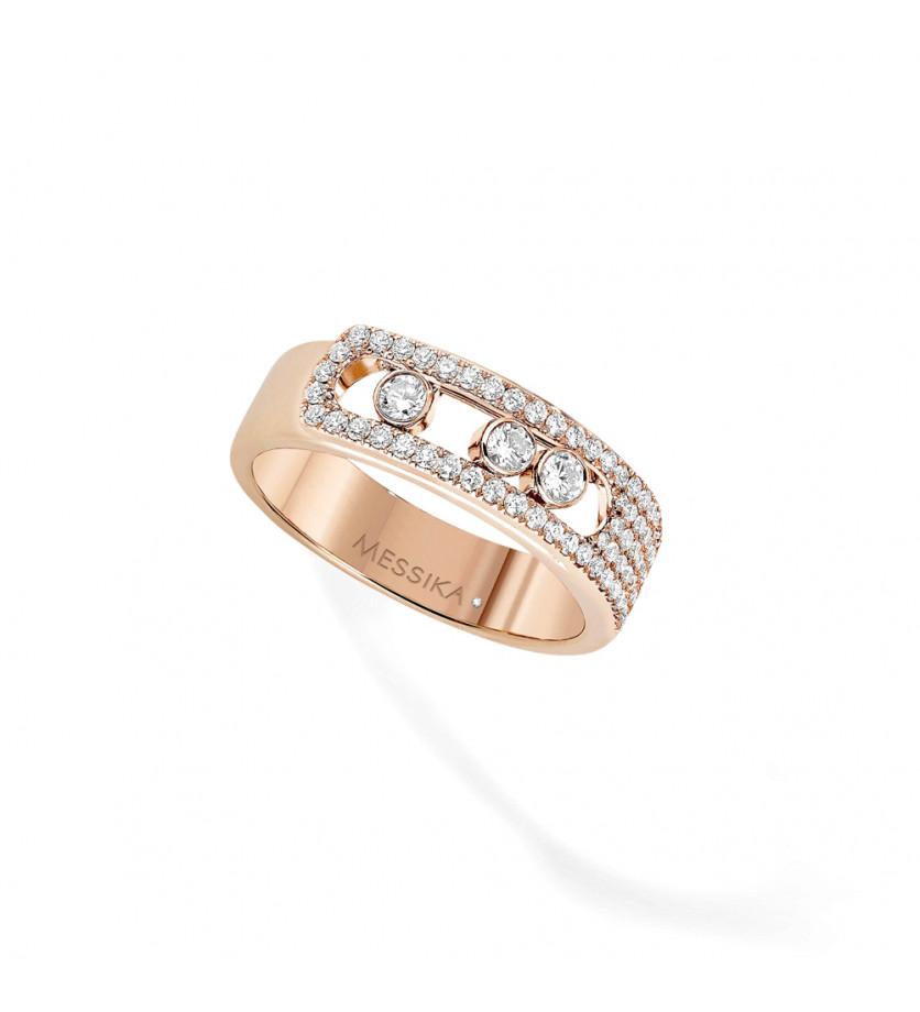 Bague Move Noa or rose pavée diamants