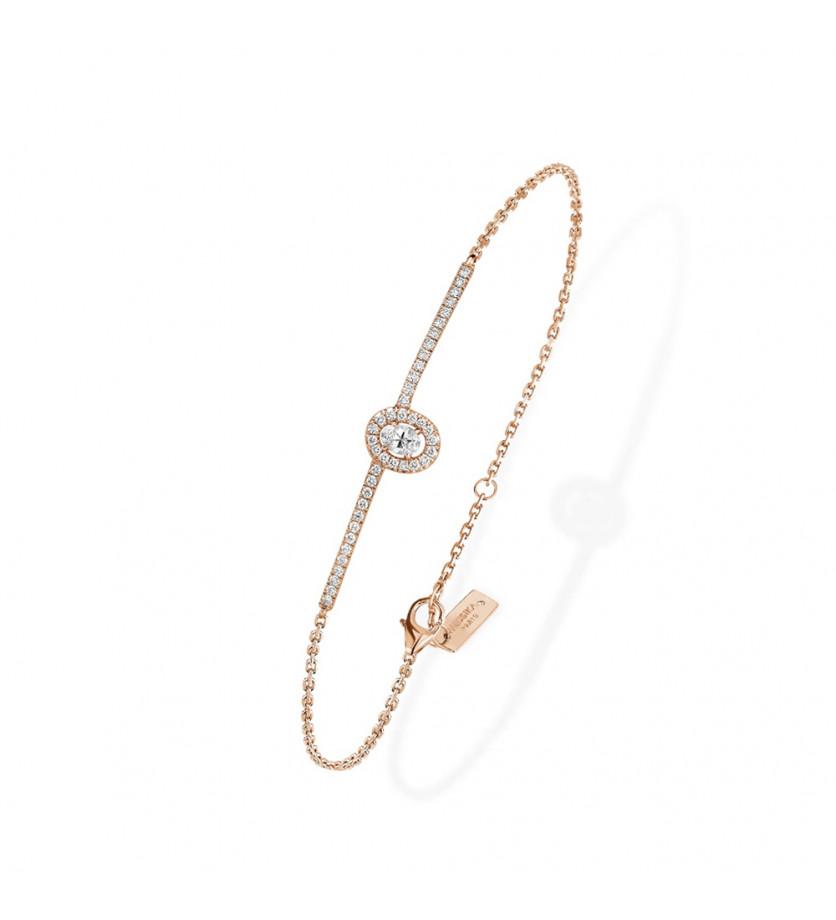 Bracelet Amazone diamant ovale entourage brillants sur barrette pavée diamants chaîne or rose