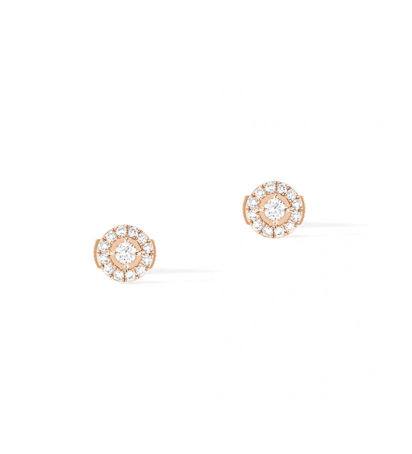 MESSIKA Puces d'oreilles Joy or rose diamants ronds 0,03ct pavées