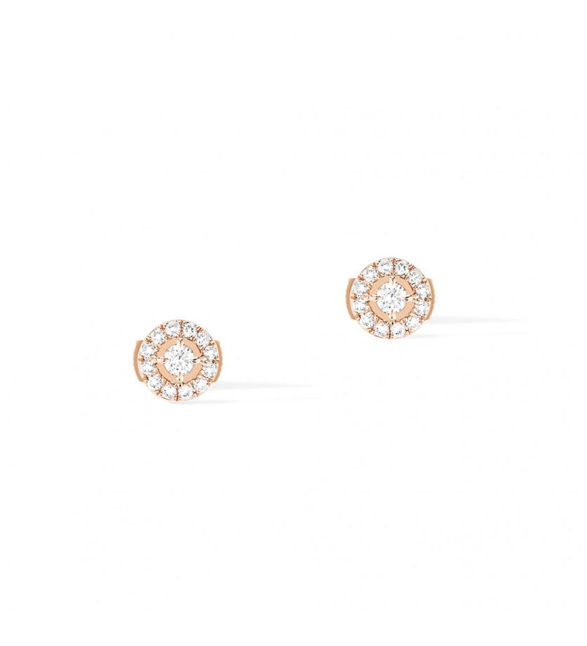 Puces d'oreilles Joy or rose diamants ronds 0,03ct pavées