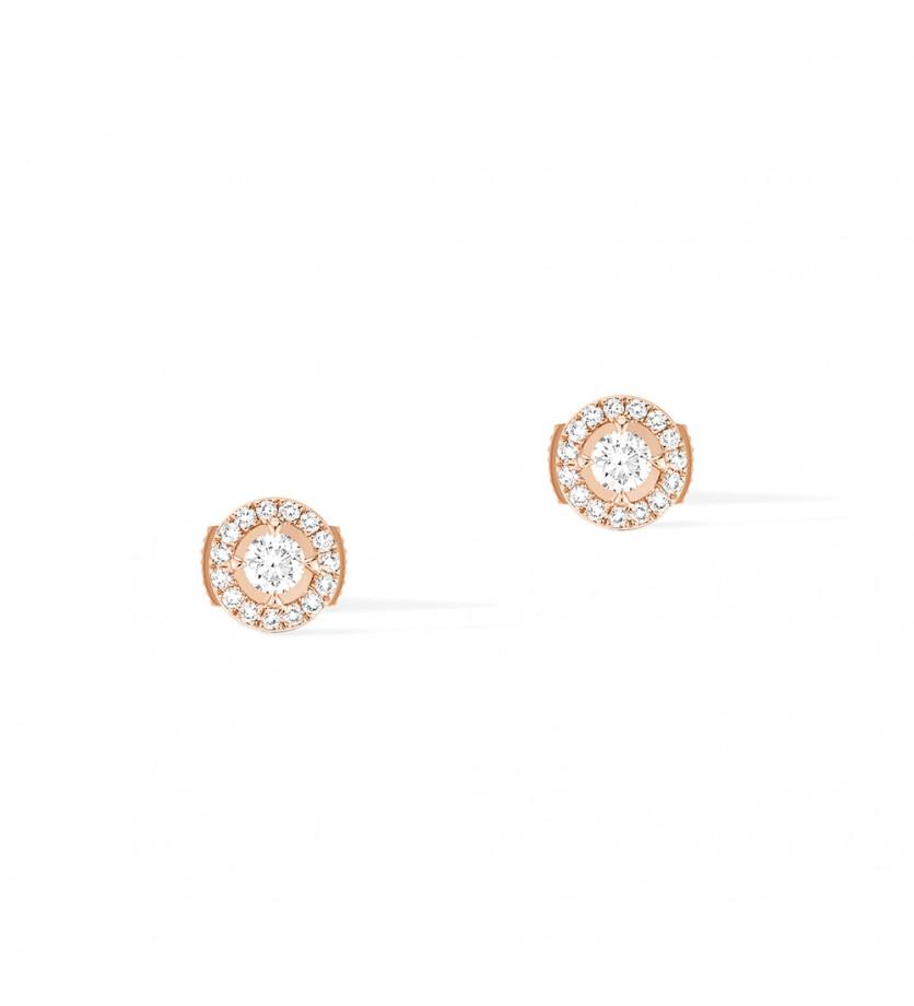 Puces d'oreille Joy or rose diamants