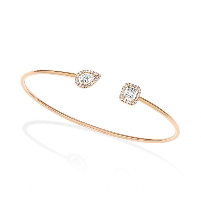 Bracelet Jonc My Twin or rose diamants émeraude