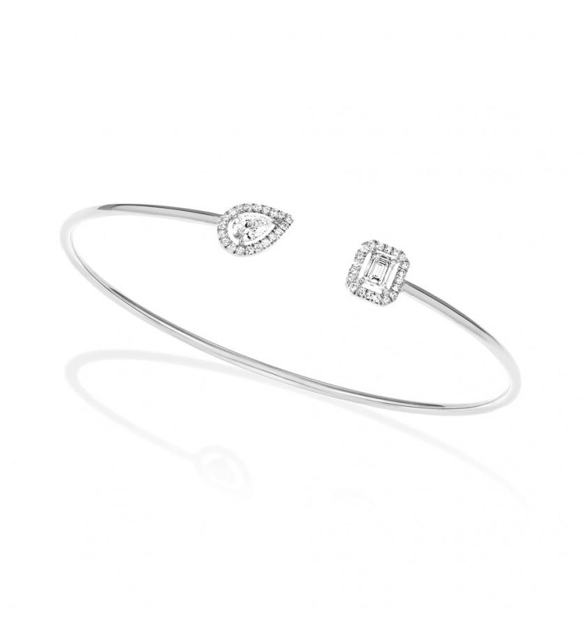 Bracelet Flex My Twin or blanc composé d'un diamant taille poire 0.15ct entourage brillants et d'un