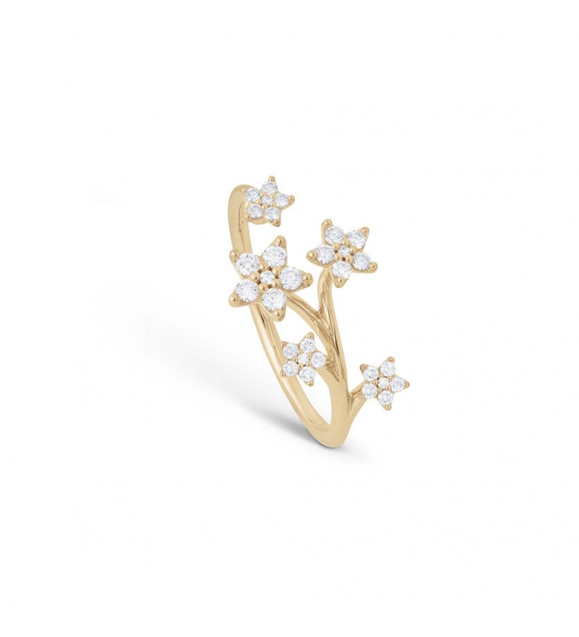 Bague Shooting Stars or jaune pavée diamants