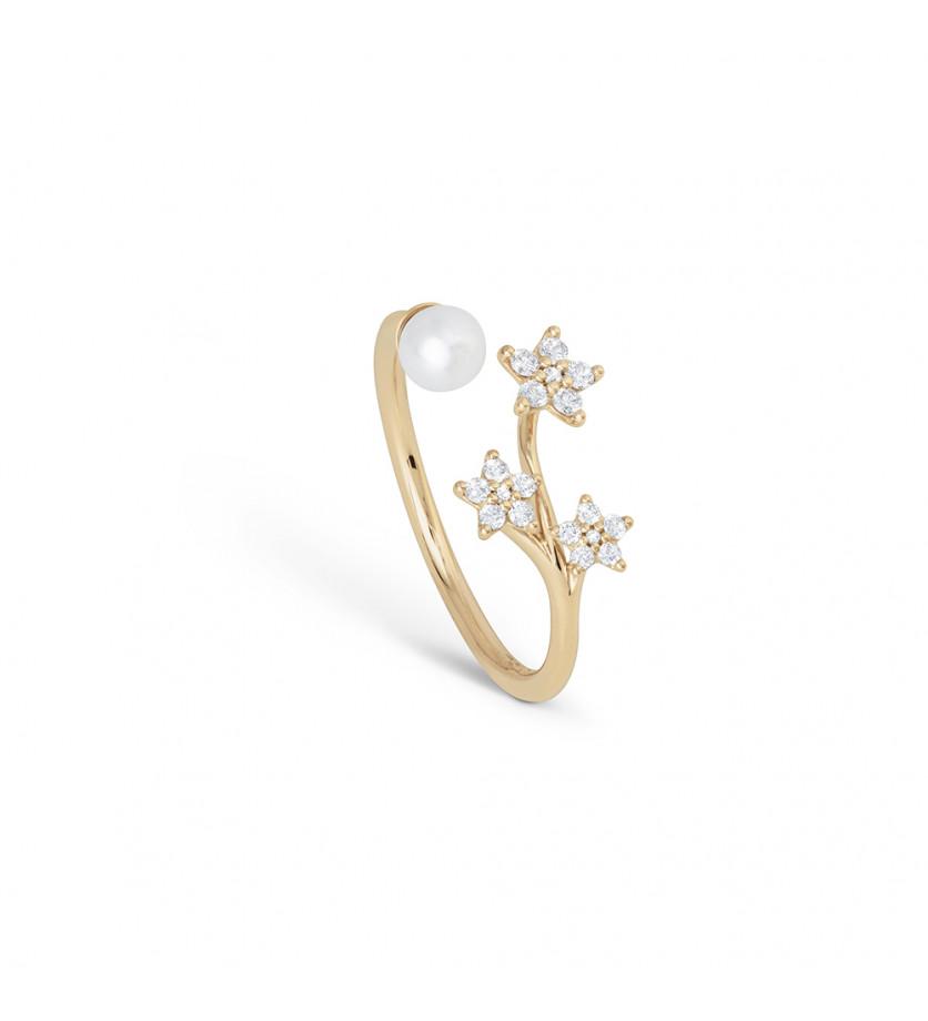 Bague Shooting Stars or jaune perle et diamants