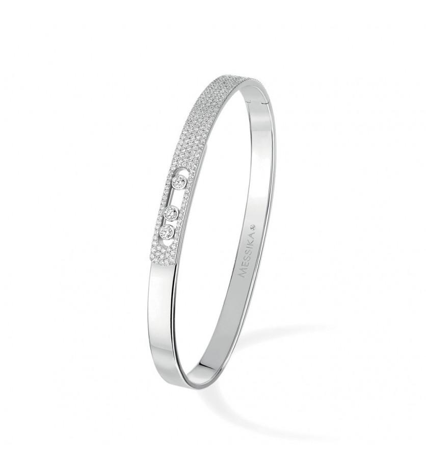 Bracelet bangle Move Noa PM or blanc pavé diamants taille M