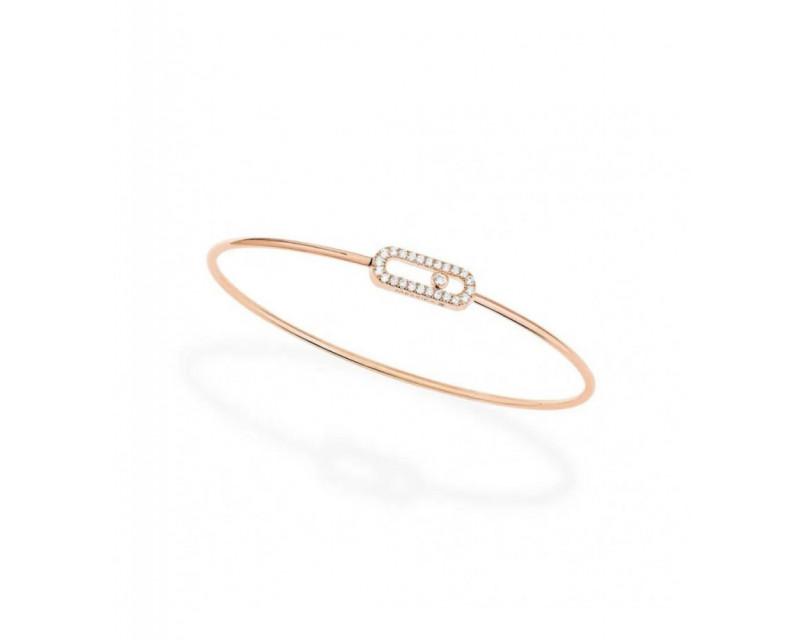 MESSIKA Bracelet jonc Move Uno mémoire de forme or rose diamants taille M