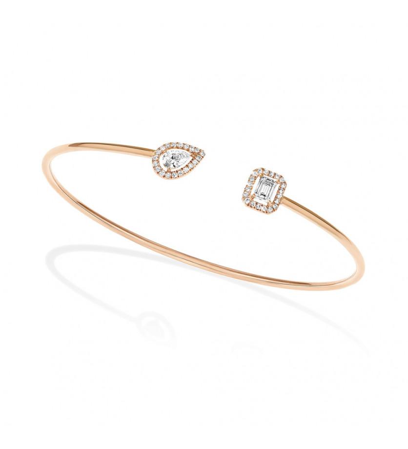 Bracelet Jonc My Twin mémoire de forme or rose diamants poire, émeraude et pavage brillants, taille