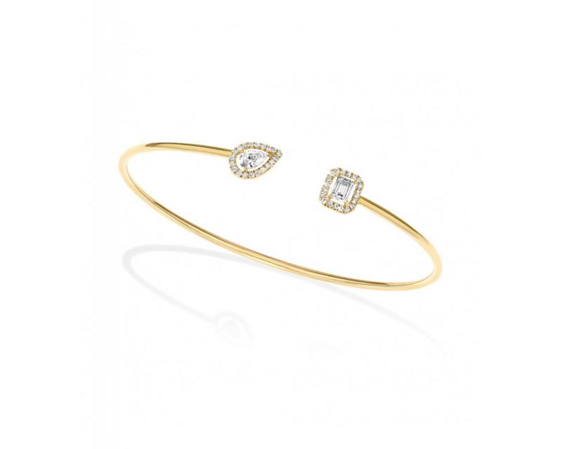 MESSIKA Bracelet Jonc My Twin mémoire de forme or jaune diamants poire, émeraude et pavage brillants