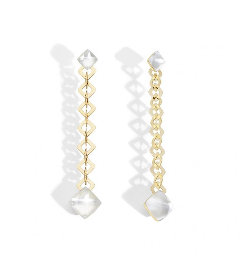 Boucles d'oreille PanDiZucchero or rose quartz tournesol nacre blanche