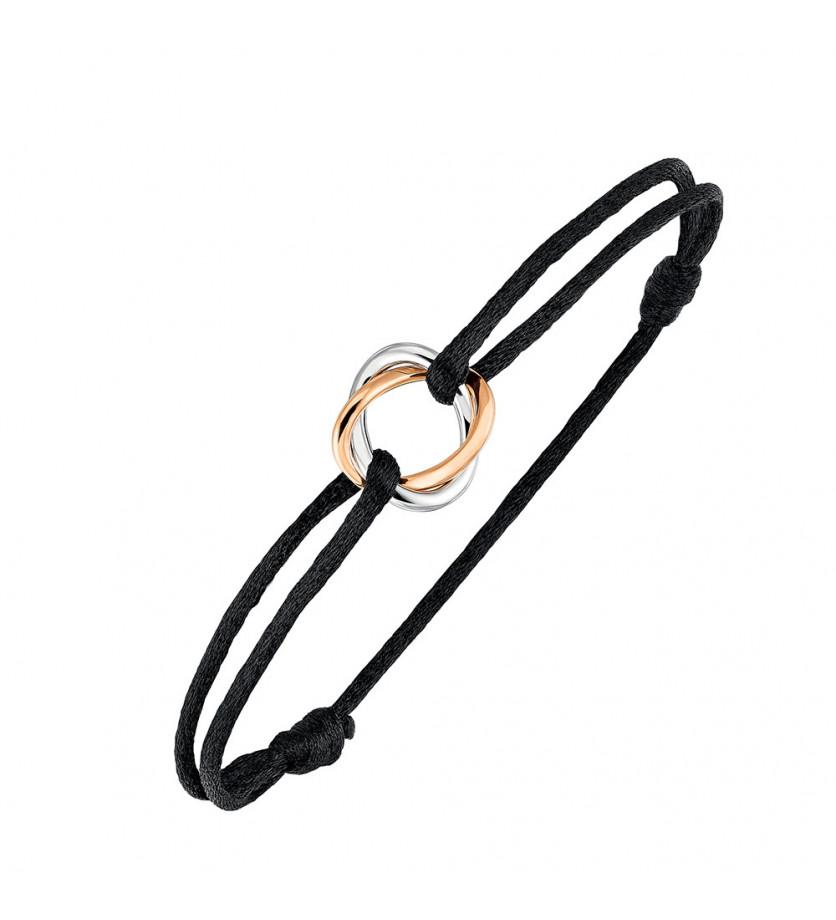 Bracelet Tresse or blanc or rose sur cordon