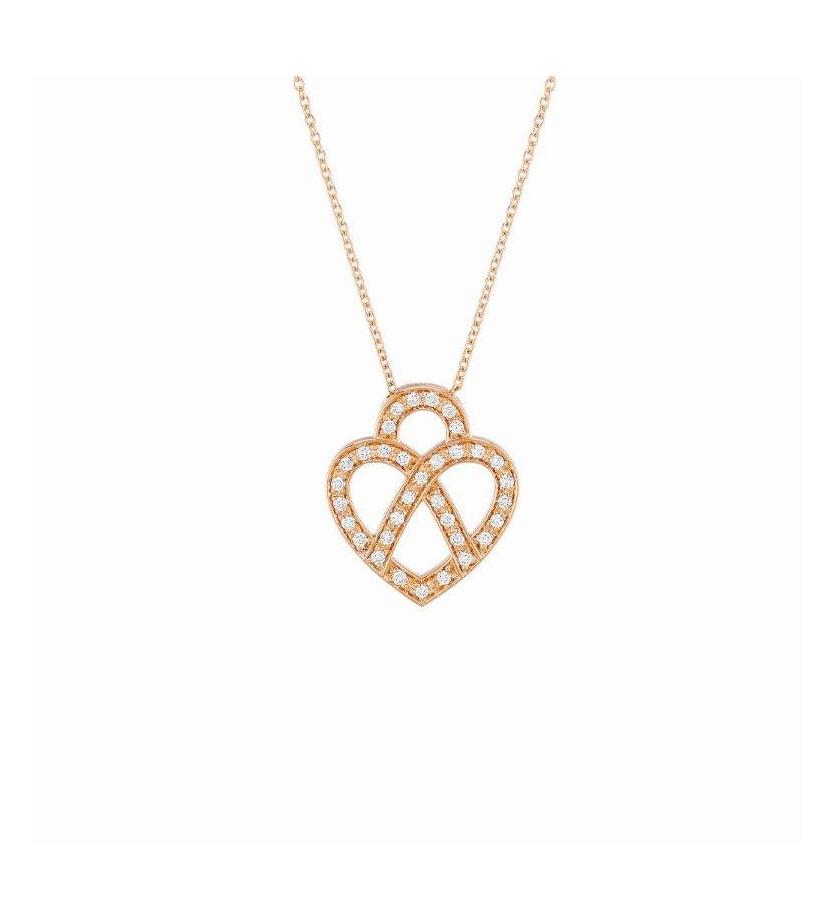 Collier Cœur Fil Mini or rose et diamants