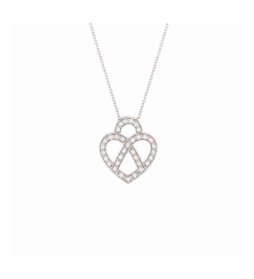 Collier Cœur Fil mini or blanc et diamants