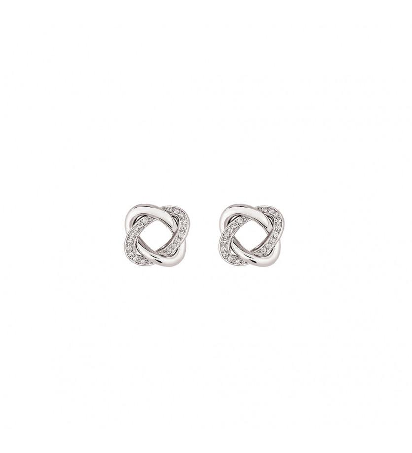 Boucles d'oreille puces Tresse grand modèle or blanc et diamants