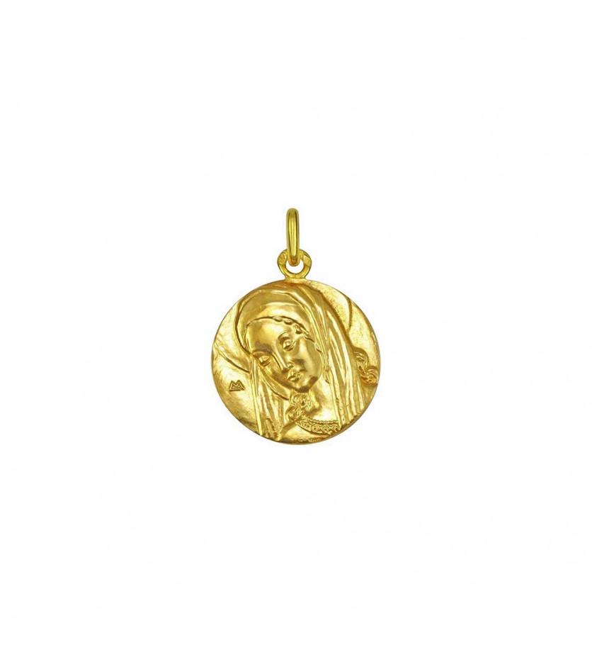Médaille Vierge Ancilla Domini 21mm or jaune poli