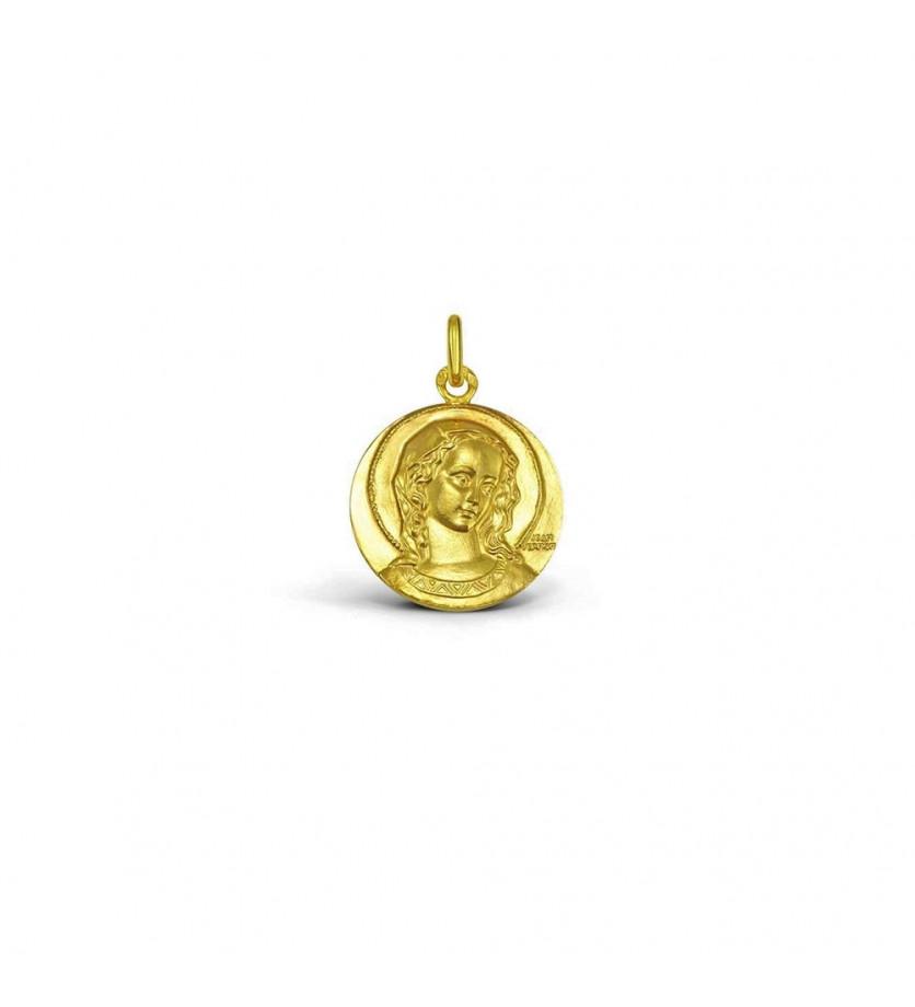 Médaille Virgo Amabilis 16mm or jaune sablé mince